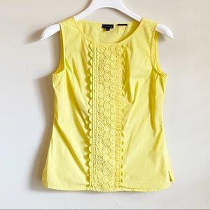 Talbots Yellow Tank Top Front Lace Detail 2